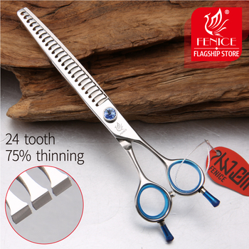 Fenice High quality Japan 440C stainless steel 7 inch blue pet dog grooming thinning scissor thinning rate 75% fenice japan 440c pet grooming in dog hair trimmers thinning shear in dog scissors tesoura tijeras thinning rate 50 60%