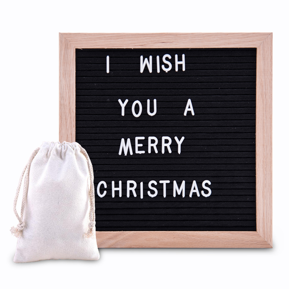 zofei Letter Board Sign with 290 Changeable White Characters - 10 x 10 with Oak Frame and Black Felt new board sign