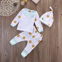 3Pcs/Set Newborn Baby Boy Girl Ruffles T-shirt+Dots Pants Leggings Hat Baby Outfit Set Children's clothing Sets