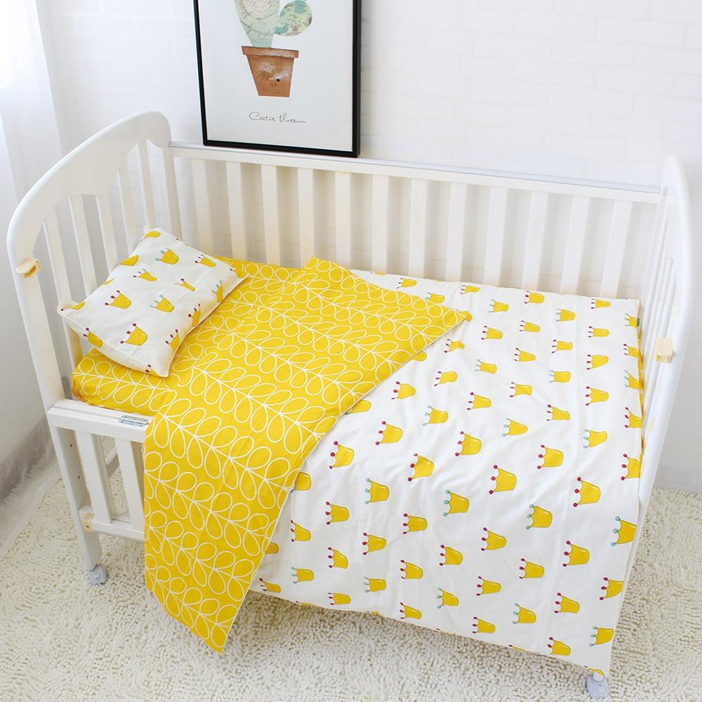 Baby bed sheet pattern - 100 Cotton Crib Bed Linen 3 Pcs Baby Bedding Set Includes Pillowcase Bed Sheet Duvet