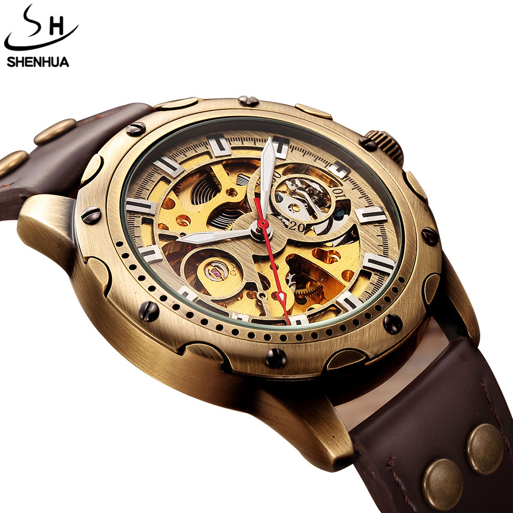 Top Brand Self-Wind Mens Automatic Watch Mechanical Watches Mens Leather Band Skeleton Unique Bronze Dial Men WristWatches Gifts 10pcs lot vintage bronze roman numbers open face pocket watch mechanical automatic self wind with 30 cm chain fob watches