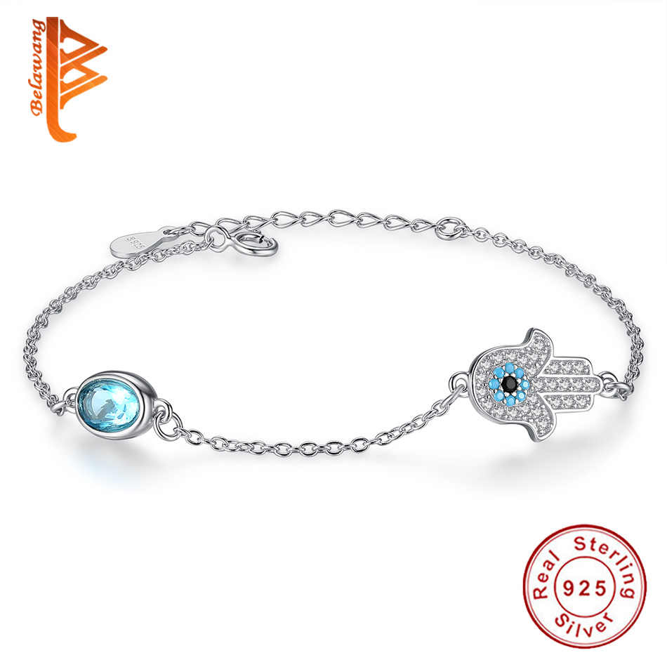 925 Sterling Silver Hamsa Bracelet Hand of Fatima Crystals Lucky Eye Rhinestones Chain Bracelet Women Fashion Jewelry