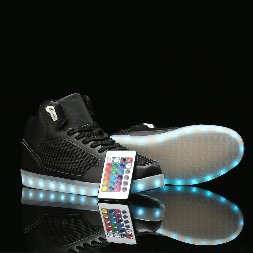 remote control High Top LED Shoes men tenis led Men Shoes 11 male flat neon basket Glowing casual Flash Light Up Unisex