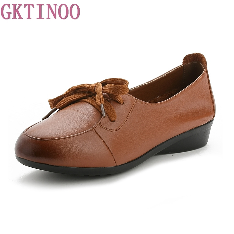 Spring Autumn Women Shoes Fashion Genuine Leather Flat Shoes Woman Comfortable Lace-Up Casual Shoes Women Flats fashion woman casual shoes wild lace up loafers women flats comfortable footwear woman shoes breathable female shoes