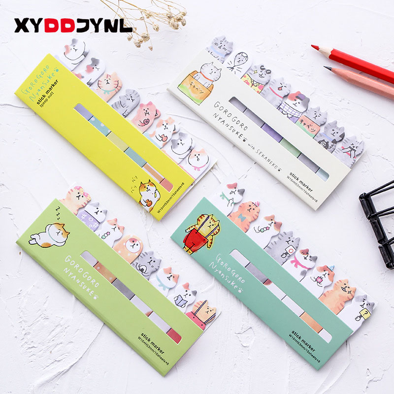 Cute Cartoon Cat Self-Adhesive Memo Pad Planner Stickers Paper Sticky Notes Post It Bookmark  Kawaii Stationery School Supply