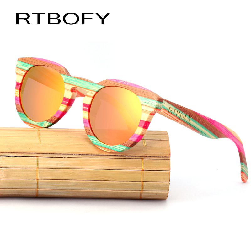 RTBOFY Wood Sunglass Women 2017 Cat Eye Polarized Bamboo Sun Glasses Brand Designer Mirror UV400 Eyewear Sunglasses