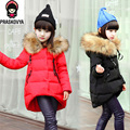 fashion children Winter Jacket For Girls Jackets Coats Kids Baby Thick Down Fur Hooded Long Girls Coat Duck Child Outerwear