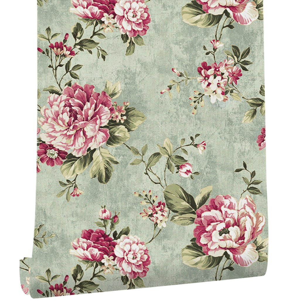 HaokHome 3d Vintage Psatoaral Floral Wallpaper Flower Green/Pink non woven wall covering Living room Bedroom home Decoration fashion floral rattan butterflies pattern bedroom decoration wall stickers