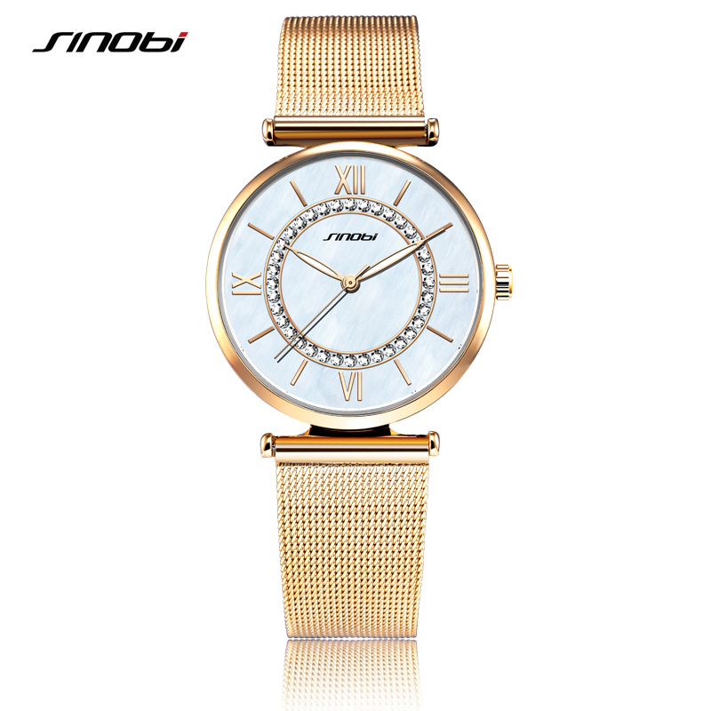 SINOBI Fashion Golden Women's Diamonds Wrist Watches Top Luxury Brand Ladies Geneva Quartz Clock Female Bracelet Wristwatch 2017
