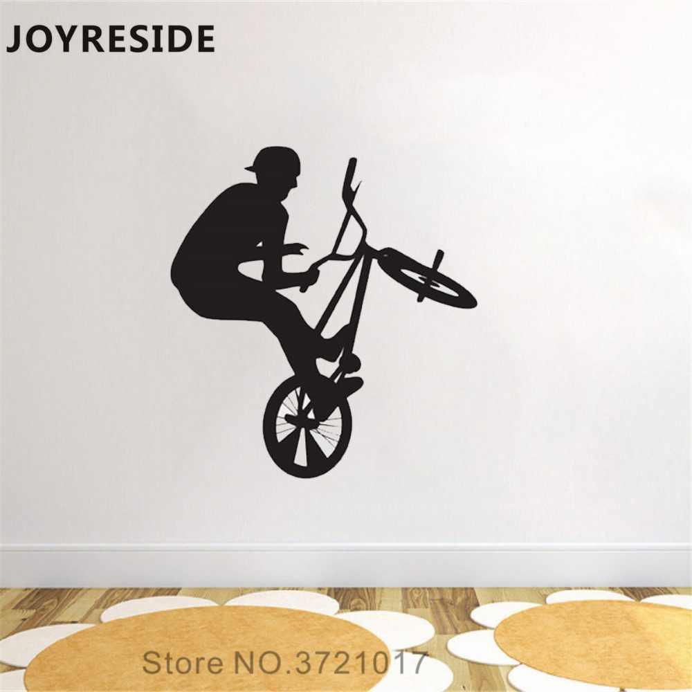 JOYRESIDE Bike Jumping Wall Decal Extreme Sports Wall Sticker BMX Art Vinyl  Decor Home Livingroom Decor Interior Design A1147