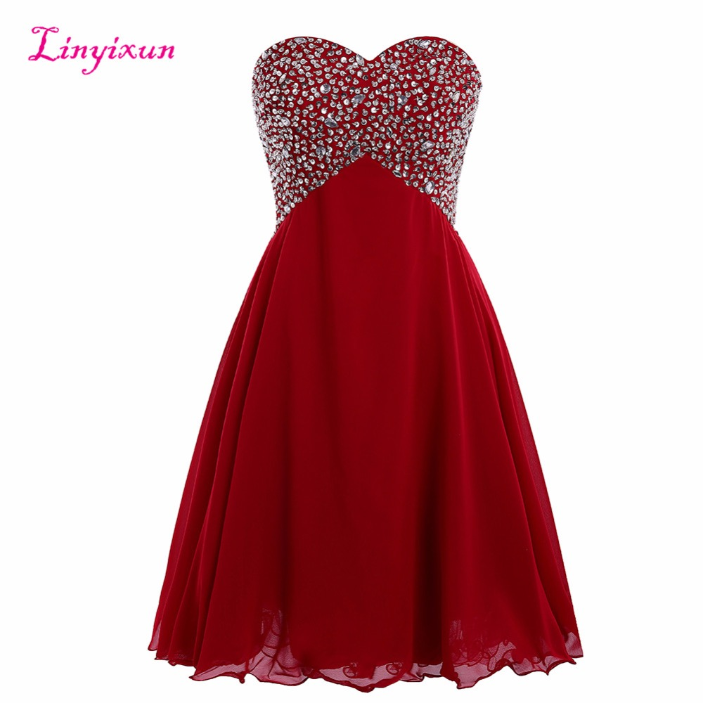 Linyixun Real Photo Short   Prom     Dresses   2017 Shinny Beaded Crystal Sweetheart Sleeveless Chiffon Party   Dresses   For Graduation