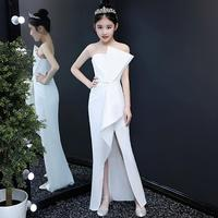 2019 Summer high end girls dresses wedding party Catwalk white Gown shoulderless Slim fit evening dress Modis Kids clothes Y1505