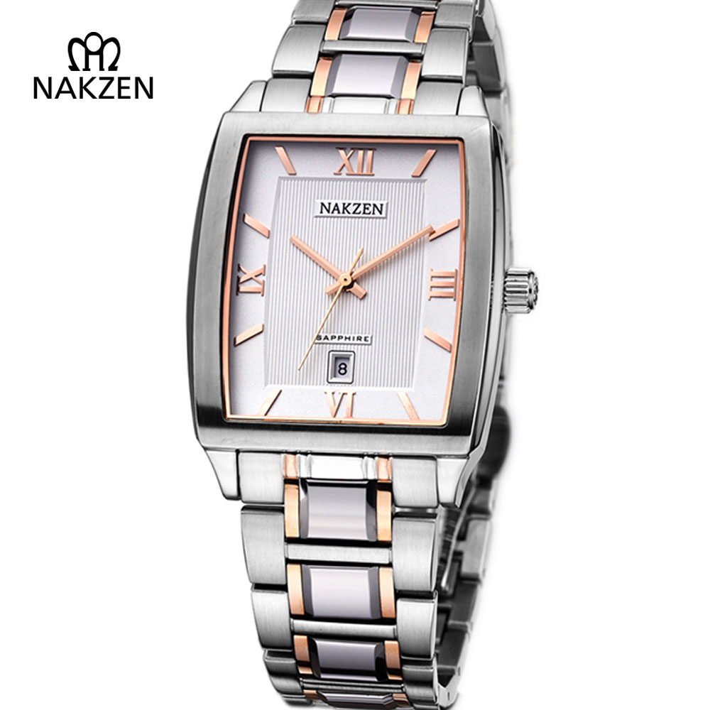 NAKZEN Unique Men Watch Fashion Rectangle Man Steel Quartz Clock Business Luxury Sapphire Waterproof Casual Gents Dress Watches nakzen men s automatic waterproof 50m watch man steel business dress mechanical clock male luxury sapphire diamond fashion watch