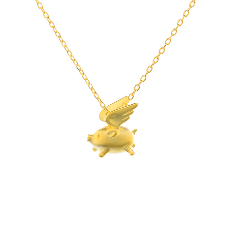 Jin Hongyu original S925 en argent Sterling collier de cochon du zodiaque chinois dans l'année du cochon, nouveau pendentif en or 18 kt clavicule cha