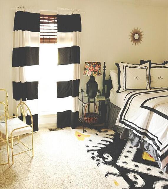 € 90.0 |100% coton style moderne noir et blanc bande horizontale rideau  pour salon une paire fini rideau avec tringle dans Rideaux de Maison & ...
