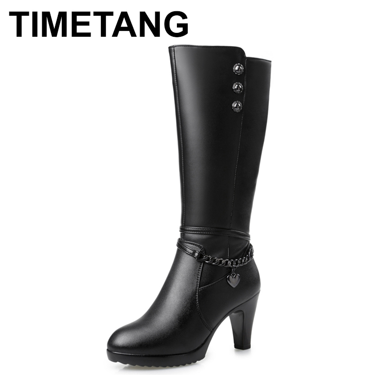 TIMETANG Woman boots, high-heeled 2018 Genuine Leather motorcycle boots. thick wool warm winter boots. female fashion 2016women s genuine leather boots high heeled winter boots designer wool lining motorcycle boots thick snowshoe free shipping