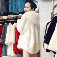 Plus Size XXL Faux Fur Coat With Hood Winter Jacket Coat Women Black White Long Style Elegant Warm Fake Fur Outerwear Female