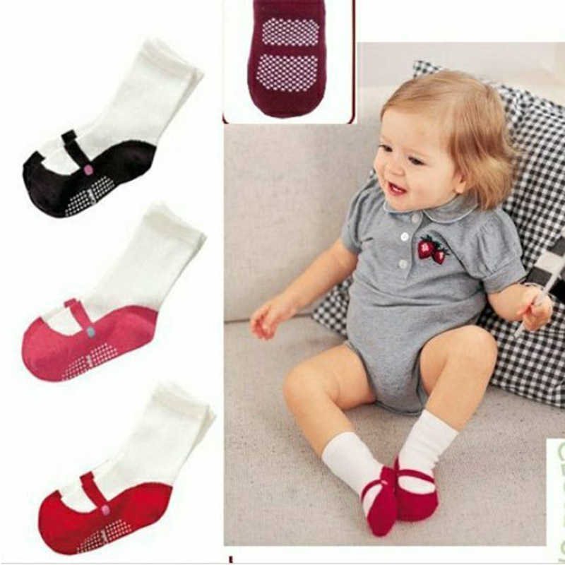 Baby Socks Cute Anti-Slip Socks 1 Pair Lovely Cute Baby Girls Ballet Socks Baby Toddler Ballet Shape Crew Shoes Booties 3 Colors