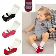 Baby socks Cute Anti-Slip Socks 1 Pair Lovely Girls Ballet Toddler Shape Crew Shoes Booties 3 Colors