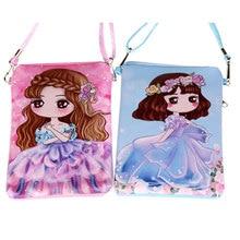 Puleather kindergarten girl double zipper handbags messenger cartoon shoulder children kids