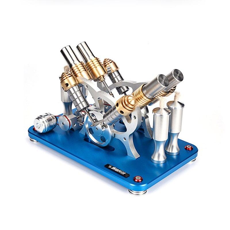 All metal can start V4 two-cylinder four-cylinder Stirling engine model Generator set micro engineAll metal can start V4 two-cylinder four-cylinder Stirling engine model Generator set micro engine