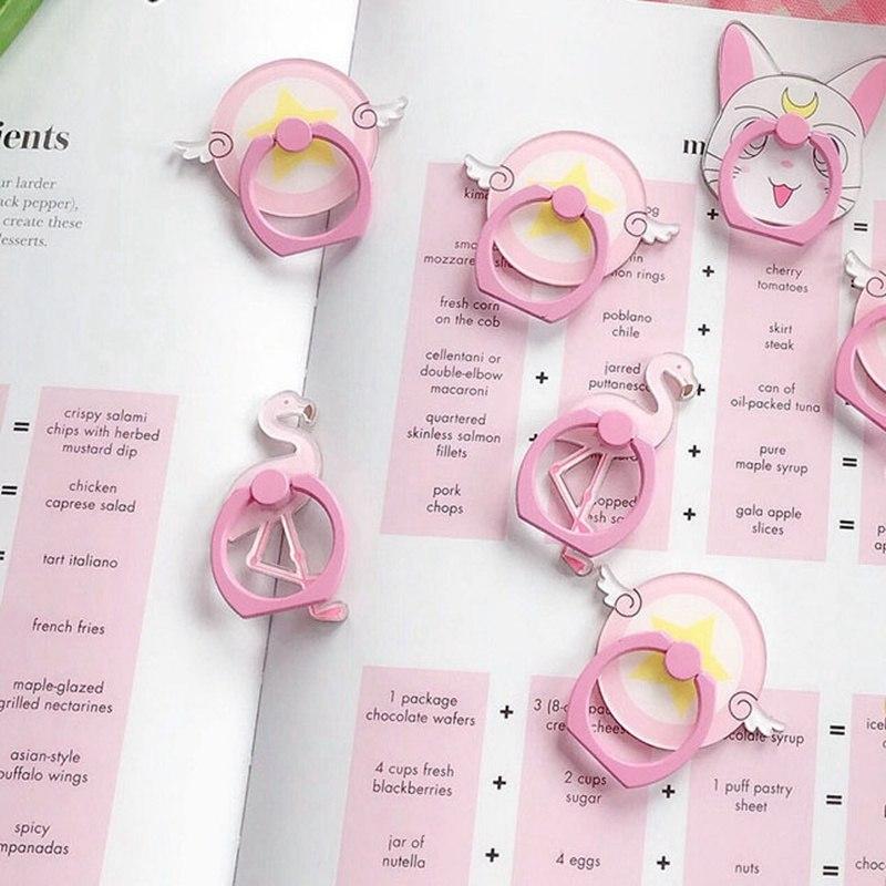 1Pcs Pink Girl Heart Style Phone Holder Phone Finger Ring Holder For Smartphone