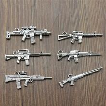 Gun Charms-Pendants Bracelets-Machine Silver-Color Antique Wholesale for 10pcs