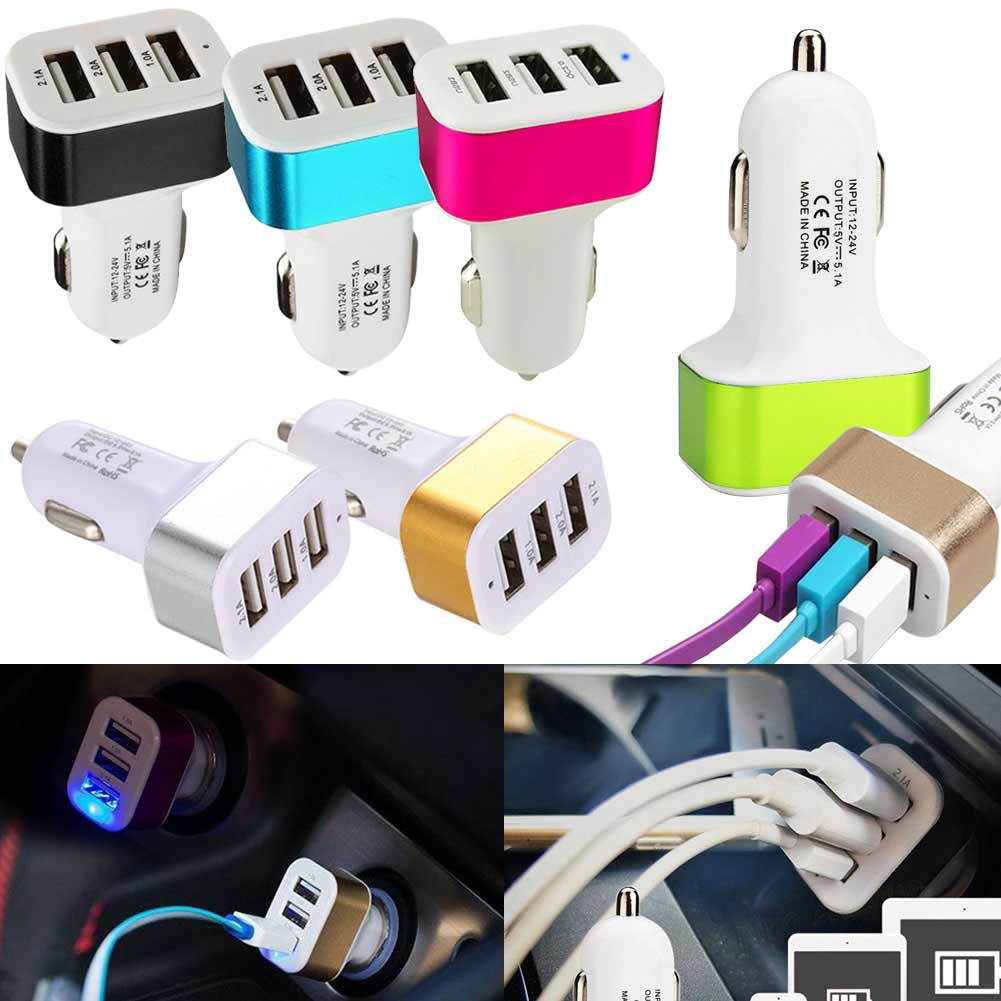 2019 Hot Universal Triple USB Car Charger Adapter USB Socket 3 Port Car-charger 3.1A 2.1A 1.1A For IPhone 6 Plus Samsung S7 BX(China)