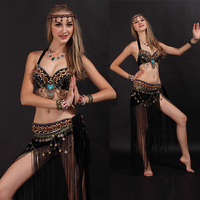New Sexy Arab Tribal Belly Dance Costume Wear Bra Tassel Belt 2 Pieces Set Women India