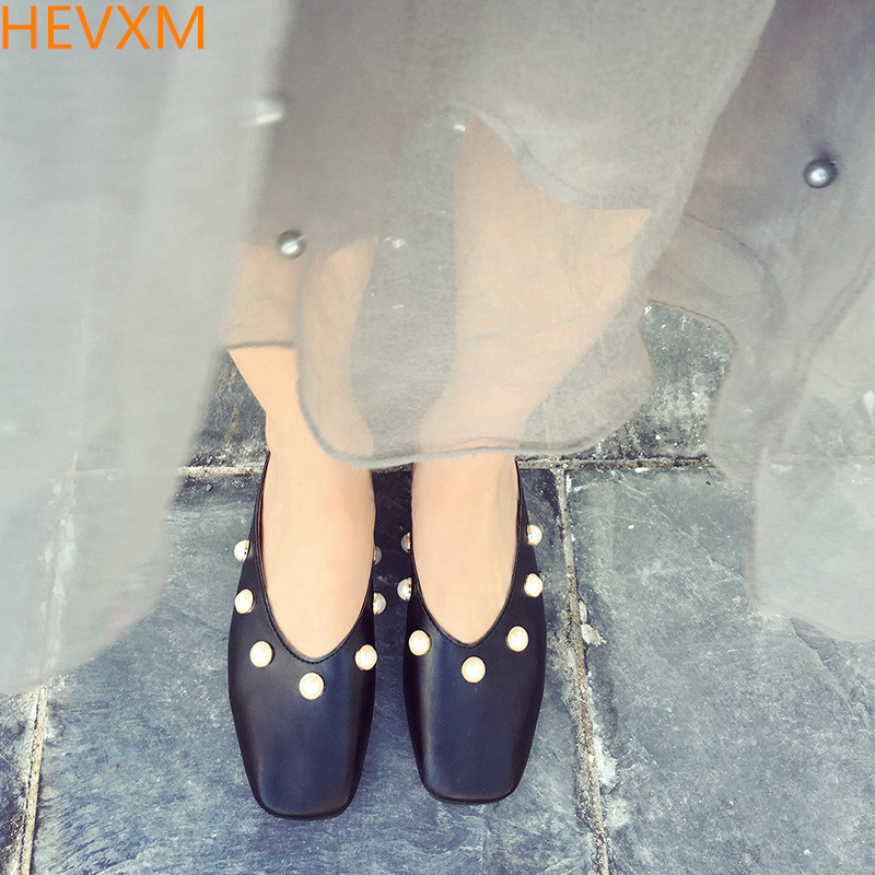 купить  HEVXM 2017 new Women Flats Square Toe Leather With Pearl Flat Heel Summer Shoes Slip On Slippers Sandals Shoes Loafers  онлайн