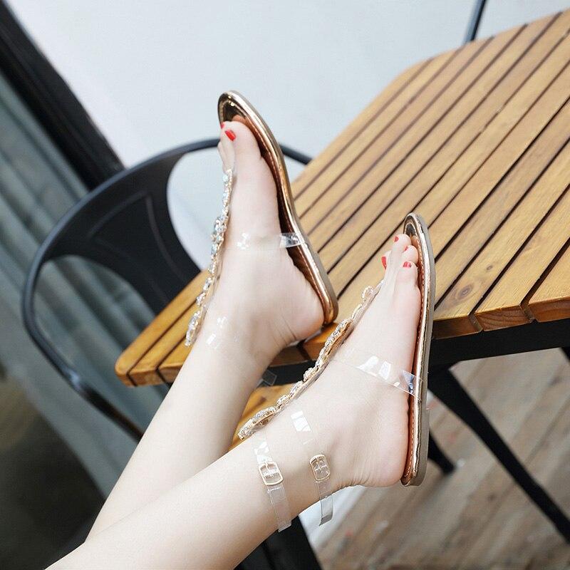 Estilo 3 Zapatillas Planas Rhinestone Holiday Playa Femenino Salvaje Nuevo Sandalias Zapatos 1 Roma De Verano Qiaojingren 2018 Nacional 2 Gran Del Tamaño 1Tq0w5T