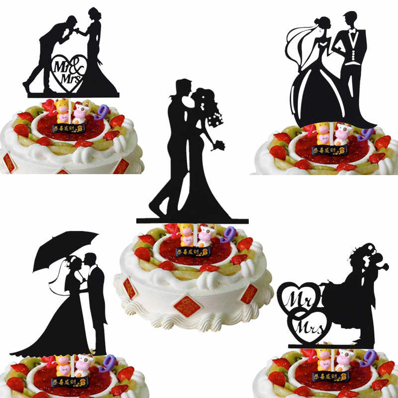Customised Mr & Mrs Cake Flags Love Heart Wedding Cake Topper Bride Groom Wedding Party Cake Baking Decor Engagement Cake Flags