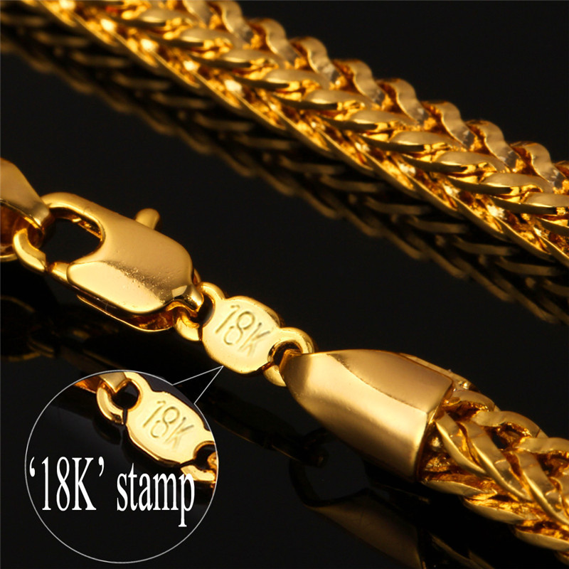 Fashion Jewelry Sets Men S Chains Necklace Bracelet Set Yellow Gold Color 4mm 55cm 22 Foxtail Franco For Nh850 In From
