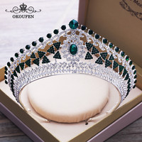 Baroque Big Crowns and Tiaras Green Brown Rhinestone Zircon Vintage Headbands Headpieces Pageant Wedding Hair Accessories