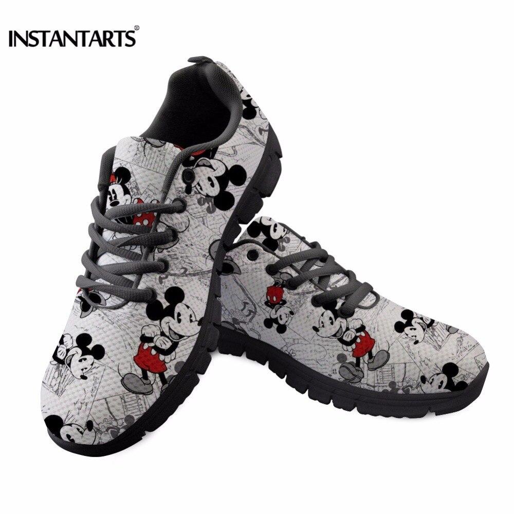 INSTANTARTS נשים נעלי ריצה חיצוני נעלי ספורט חמוד Cartoon עכבר סניקרס נקבה גבירותיי רשת הליכה נעלי שחור לבן