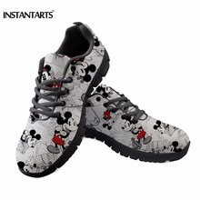 INSTANTARTS Women Running Shoes Outdoor Sports Shoes Cute Cartoon Mouse Sneakers Female Ladies Mesh Walking Shoes Black White