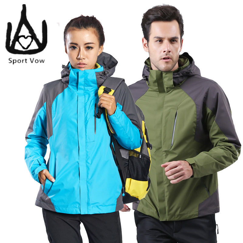 ФОТО 2016 Fleece Jacket 3 in 1 Jacket Men Mountaineering Lovers Two-pieces Womens Winter Jackets And Coats Ski Wear Super Thermal