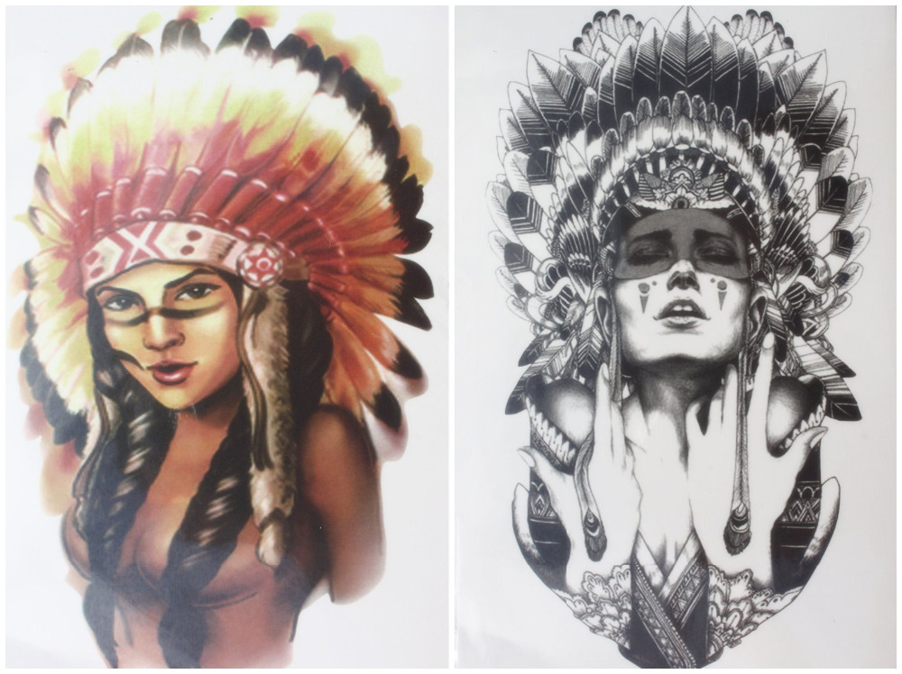 2 Pcs/set Tattoo Ancient Women + Indian Chief Girl Warrior With Feathers Hat Waterproof Temporary Tattoo Stickers