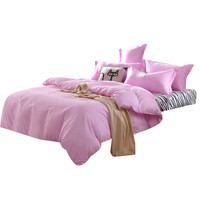 All Size Cute Pink Home Bed Kits Sheet Bedding Solid Colors Single Twin Full Queen And