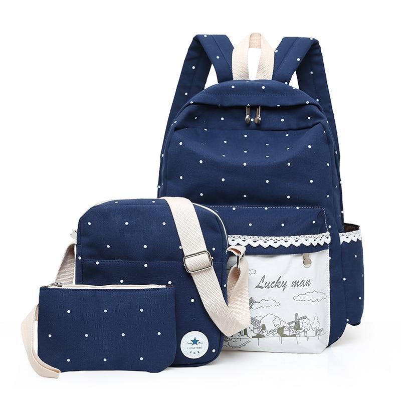 New Korean Women Backpack Three Set Casual Printing School Bag Female Canvas Backpacks for Teenage Girls Travel Bags mochila