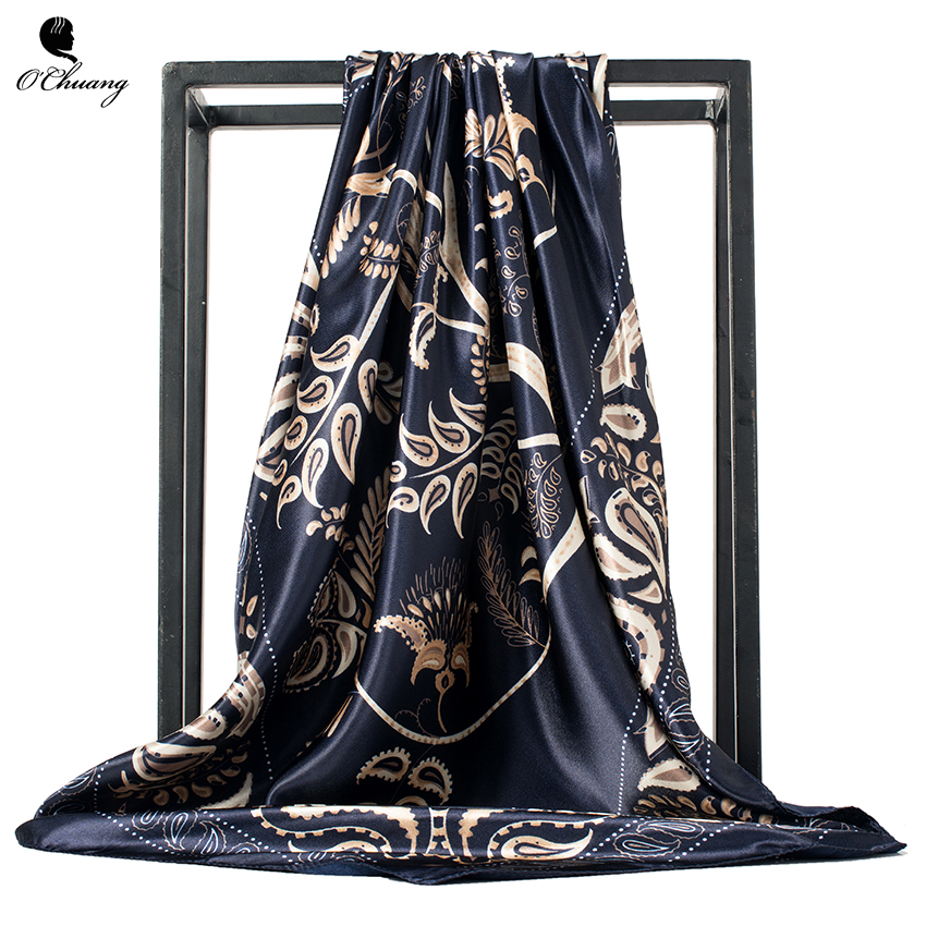 O CHUANG Fashion Square Head   Scarf   Women Black Shawl Foulard Femme Luxury Brand   Wraps   Satin Hijab Silk   Scarves   90*90cm