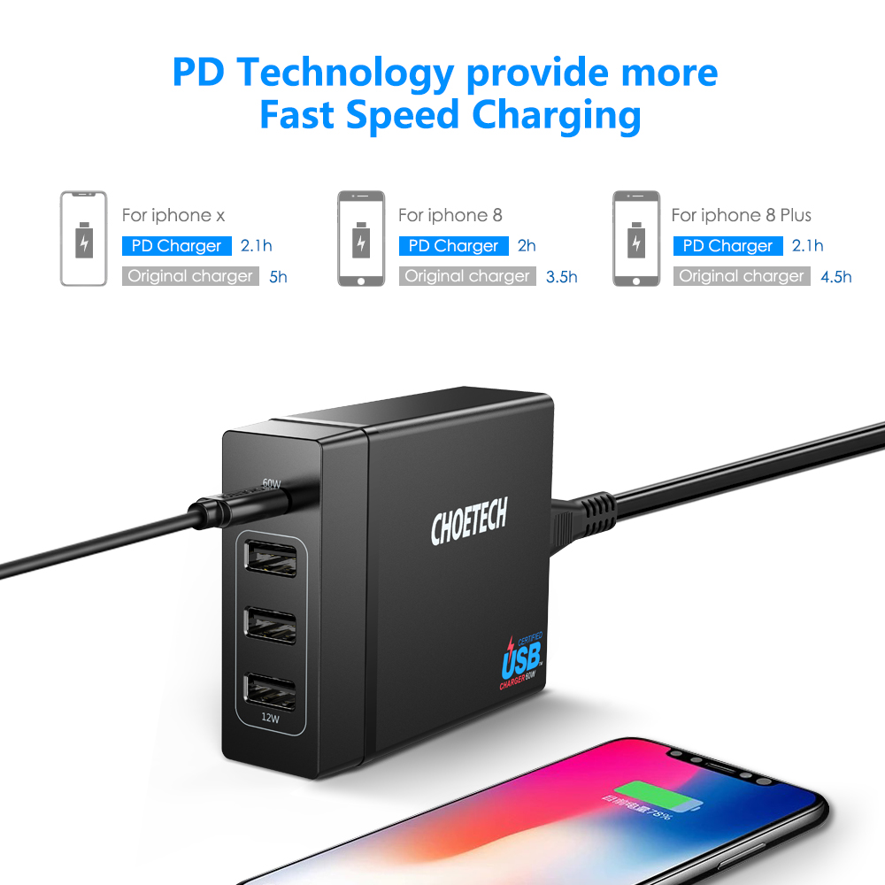 Image 4 - CHOETECH 72W 4 Port USB Type C Desktop Charger Station with Power Delivery For iPhone X 8 Plus MacBook Pro Mobile Phone Charger-in Mobile Phone Chargers from Cellphones & Telecommunications