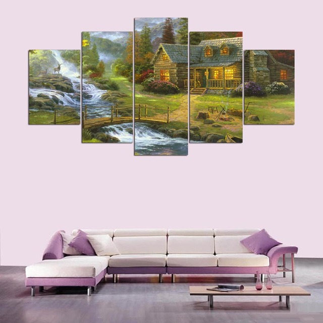 Modern Printing Type Poster Deer Canvas Painting HD Print 5 Panel House  Landscape Wall Art River