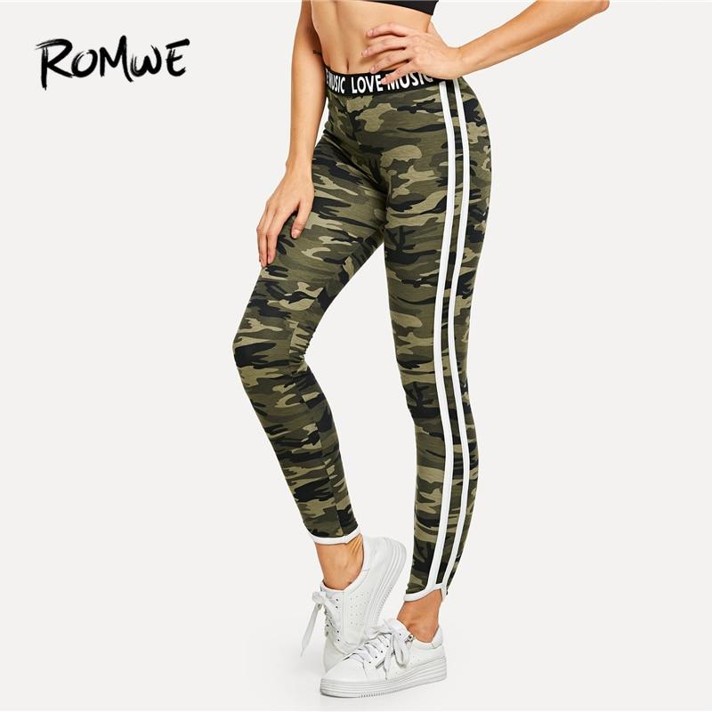 ROMWE Lettering Waistband Camouflage   Leggings   2019 Fabulous Women Fitness Active Wear   Leggings   Female Stretchy   Leggings
