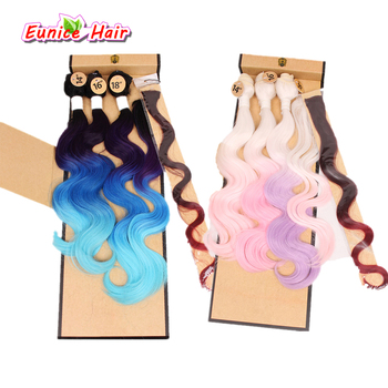 Two Tone Ombre Synthetic body wave Hair Weft With Closure And Clip Rainbow Body Wave 4 Bundles Brown