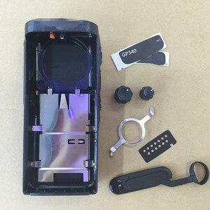 Image 2 - Honghuismart la coque du boîtier avant pour motorola GP340 talkie walkie avec 2 boutons, verrouillage du haut parleur, étiquettes, plaque, couvercle anti poussière