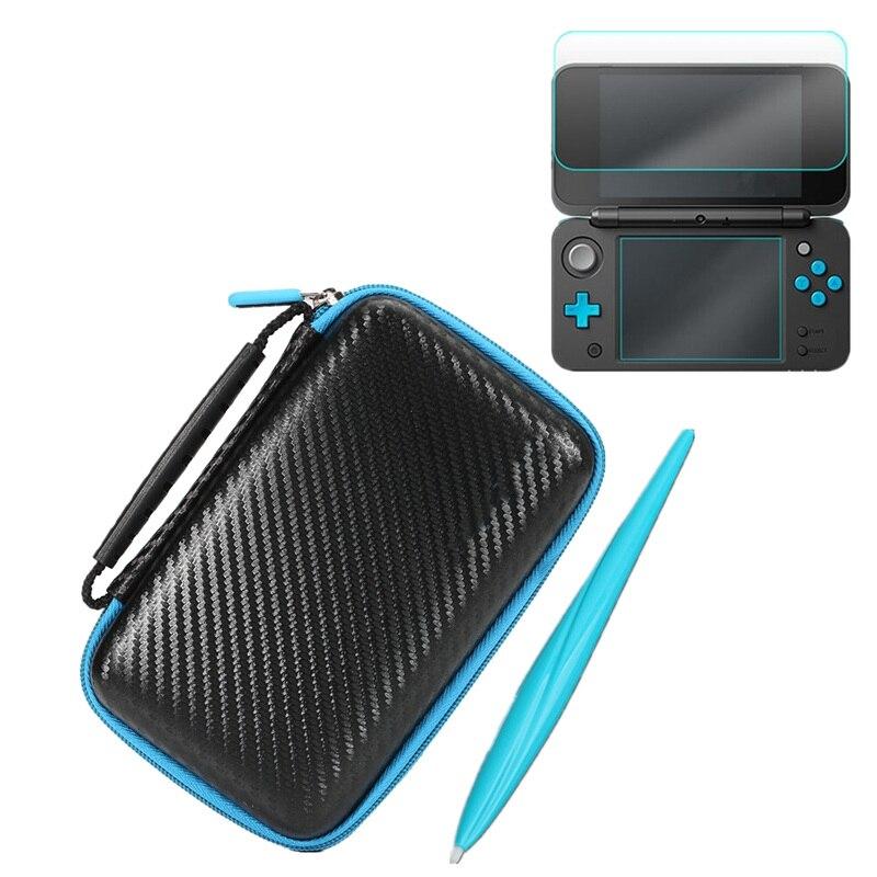 3 en 1 Eva llevar bolsa de almacenamiento caso + protector de pantalla + Lápices para pantalla táctil para Nintendo 2DS XL/ LL juego Accesorios conjunto