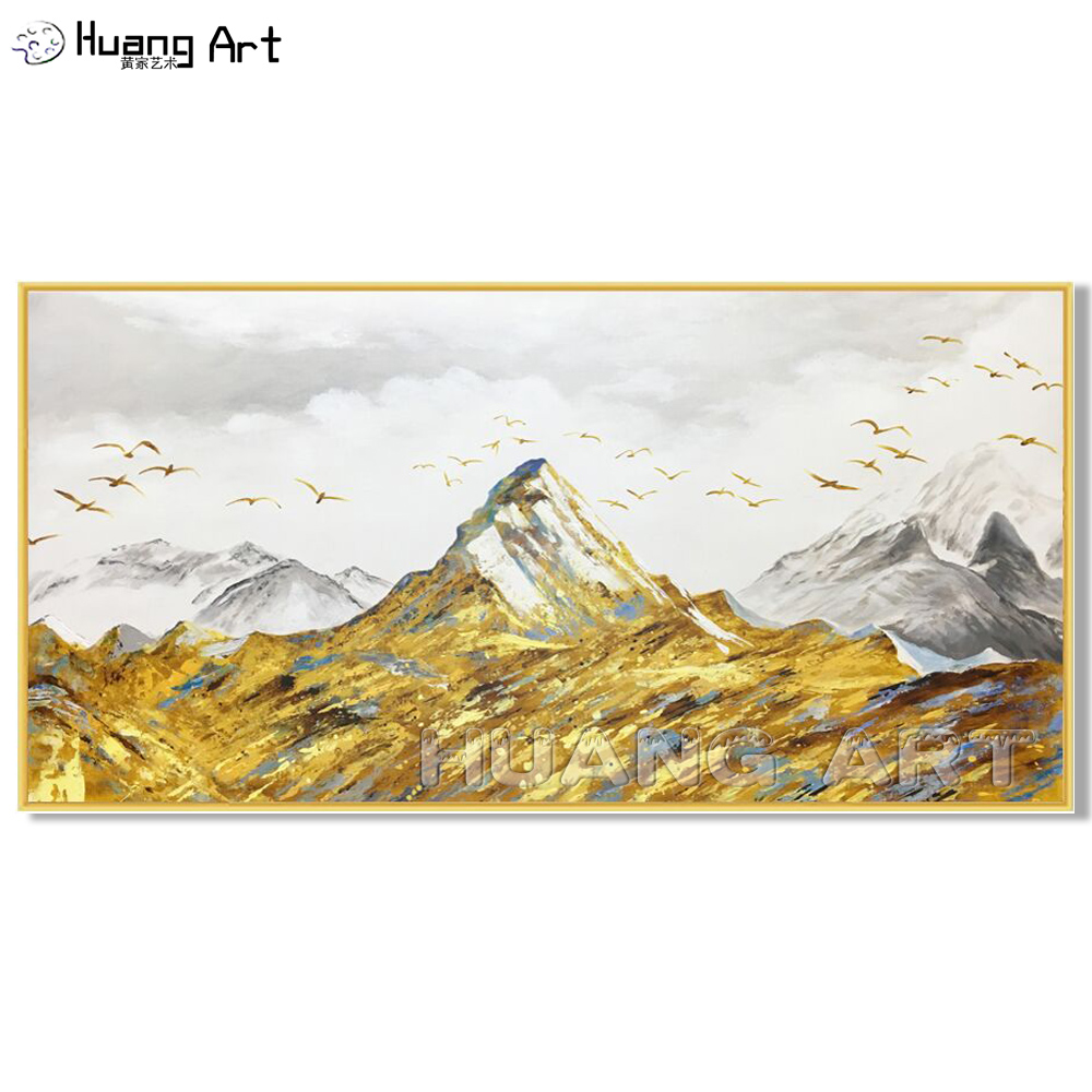 Large Home Decor Art Hand Painted High Quality Morden Gold Mountain Landscape Oil Painting On Canvas Scenery Acrylic Picture