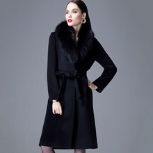 Black Sexy winter coats High-grade womens winter jackets and coats wool manteau femme  cashmere coat long maxi fox fur coat