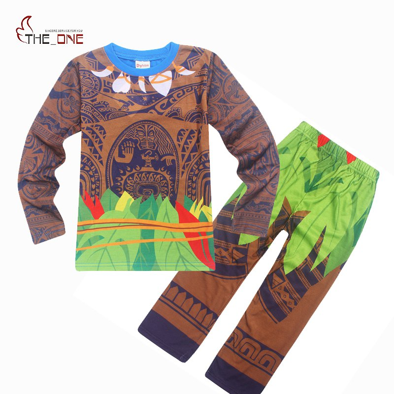 MUABABY Boys Moana Maui Costume Kids Pajamas Casual T Shirts Tops Tees and Pants 2 Piece Set Suits Boy Cartoon Printing Clothes db3814 dave bella autumn baby boys star printed t shirt kids navy tees bosy tops kids t shirts